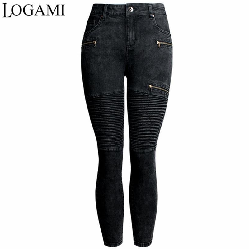 Logami New Black Motorcycle Biker Zip   Jeans   Woman Stretch Denim Skinny Ankle Length Pants Motor   Jeans   For Women