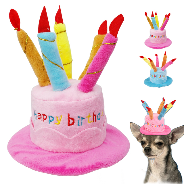 Pet Dog Cat Hat Cute Cake Design Cap With Candles Pets Headwear Hats