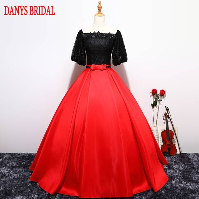 Online Shop Red And Black Ball Gown Princess Quinceanera Dresses