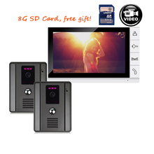Buy online FREE SHIPPING 9″ Color Record Monitor Video Door phone Intercom Access System + 2 x Night Vision Outdoor Camera + 8G SD IN STOCK