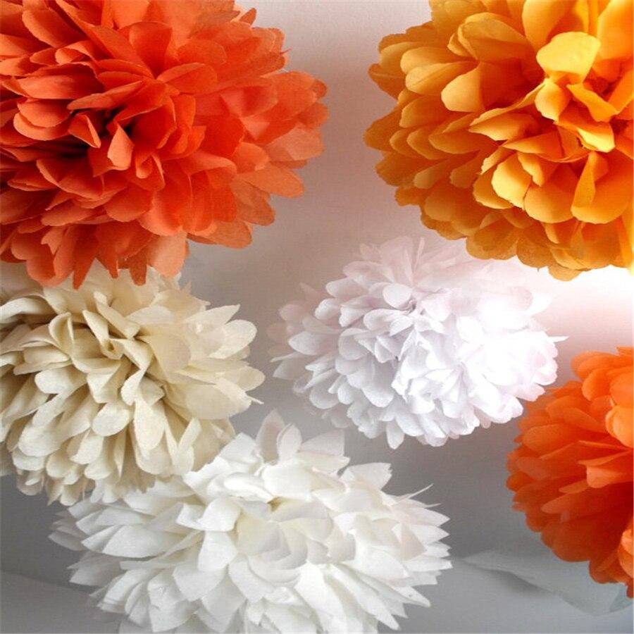 Free Shipping 150 Pcs 8 Multi Color Tissue Paper Pom Poms Paper
