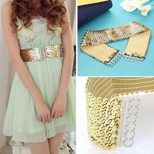 Punk Women Sparkling Stretch Sequins Wide Waist Strap Waistband Belt Accessory