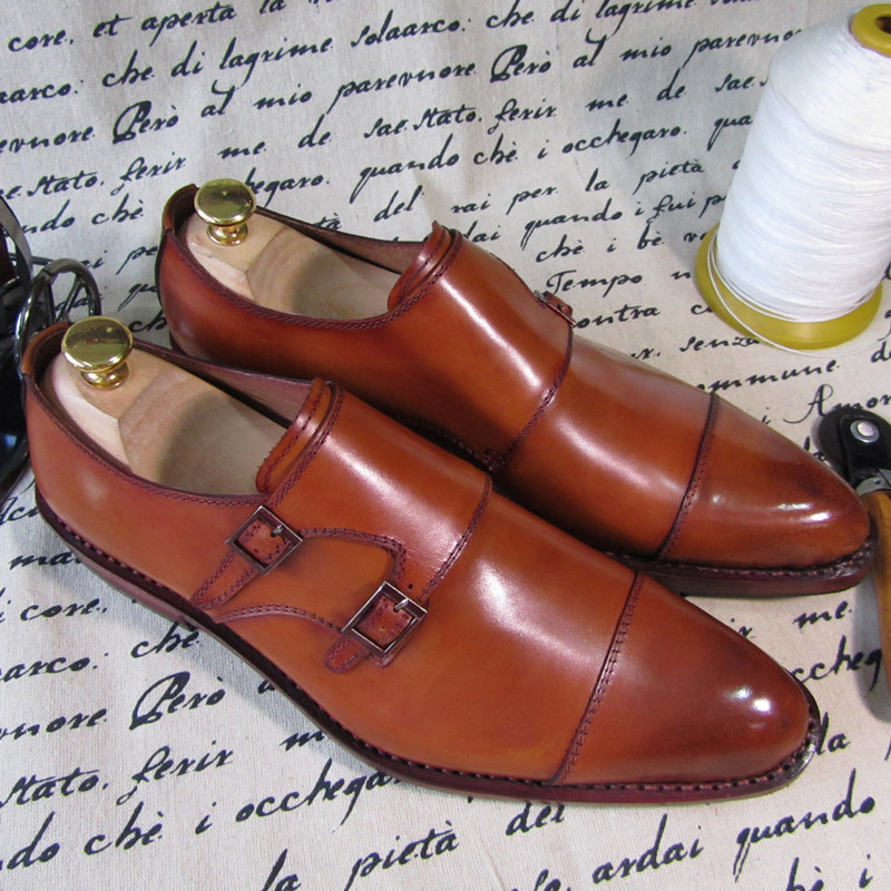 SKP09-Goodyear Welt Genuine Calf Leather Men's Monk Straps Hand Made Shoes Italia Style Brown Color - Dropshipping/Wholesale