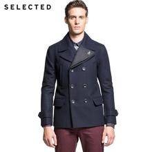 Selected бренд мужской высокое качество классический утолщенной шерстяное пальто мужской тонкий turn down воротник ветровки куртки 414427016