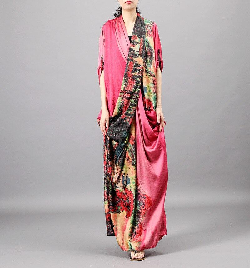 Kobiety lato druku Patchwork V neck Dress moda damska Patchwork elegancka sukienka kobiet krzyż sukienka jedwabna 2019 jedwab cienki sukienka w Suknie od Odzież damska na  Grupa 1