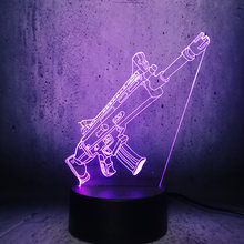 Cool 3D Submachine gun toy Led Night Light Battle Royale Game PUBG TPS SCAR-L Rifle USB RC Lamp Theme Party Christmas kids Gift(China)