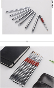 Image 2 - Barteen 7 peças de metal bolso gancho linha aquarela caneta unha ilustração mão conta portátil destacável escova