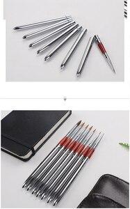 Image 2 - Barteen 7 חתיכות מתכת כיס וו קו בצבעי מים עט ציפורן עט איור יד חשבון נייד להסרה מברשת