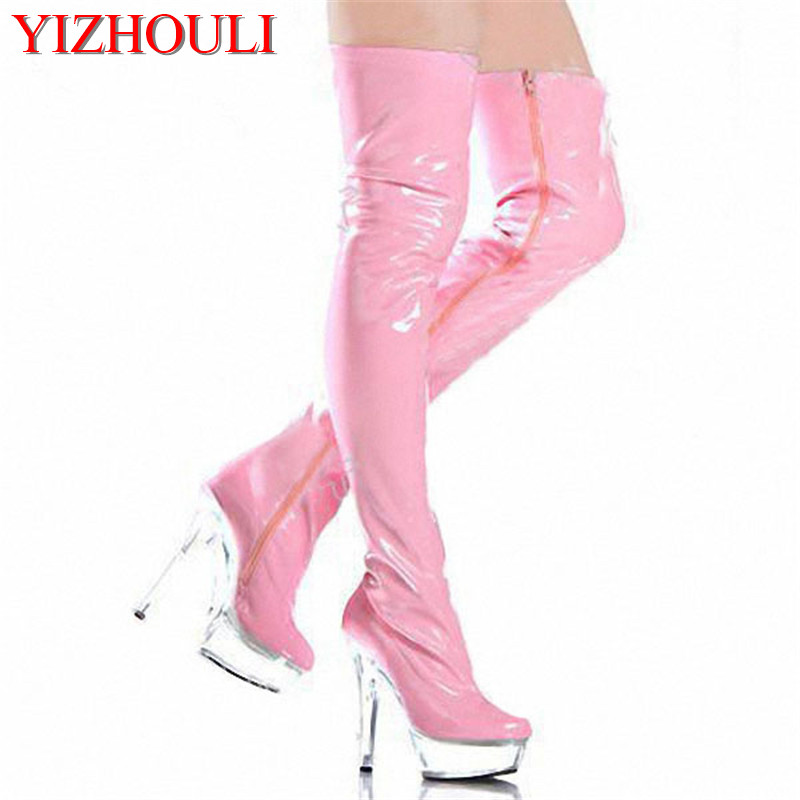 цена 15cm high-heeled shoes sexy over-the-knee long boots crystal shoes stage shoes motorcycle boots plus size thigh high boots онлайн в 2017 году