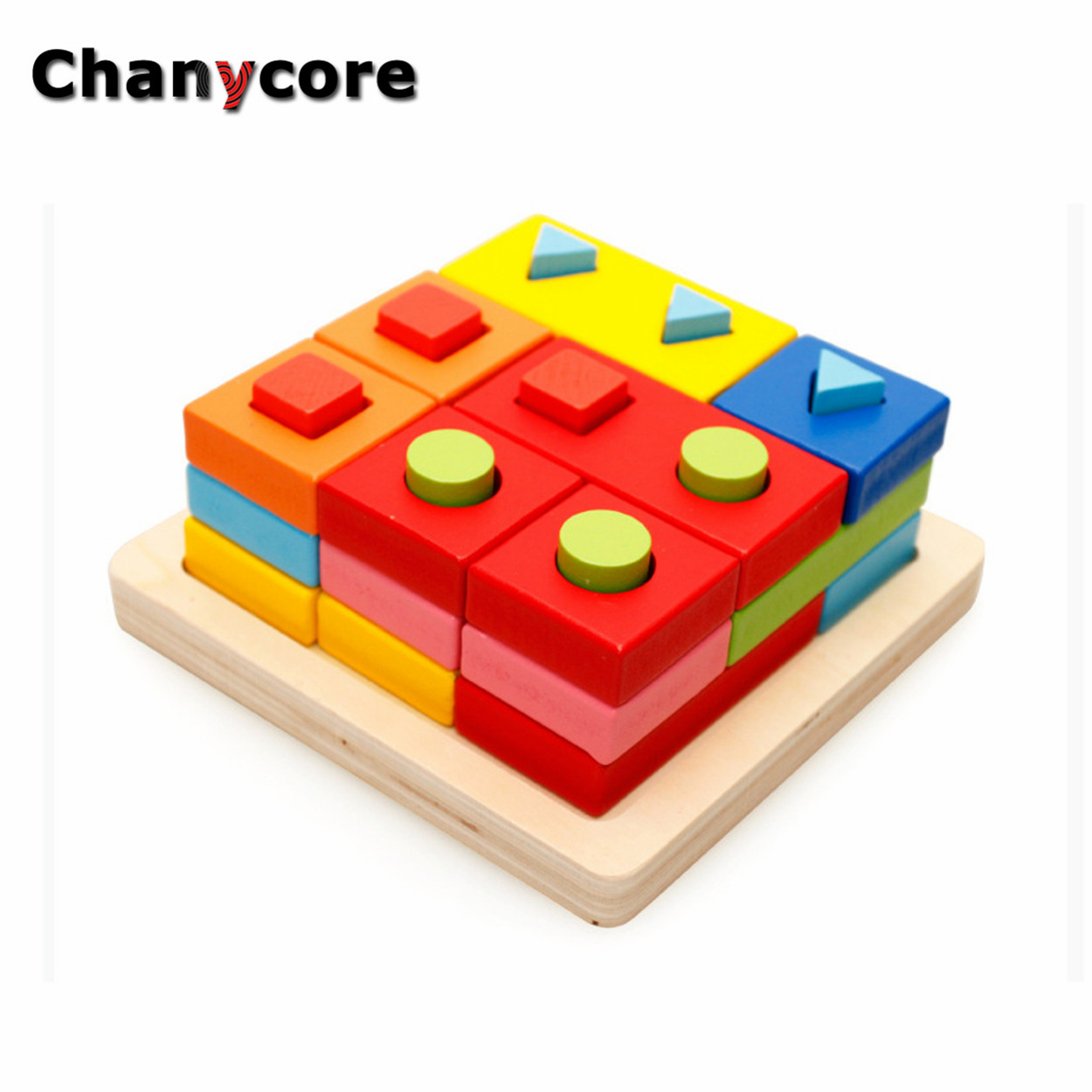 Baby Learning Educational Wooden Toys Geometric Shape Blocks Column Board Sorting Matching mwz Montessori Kids Gifts 4089