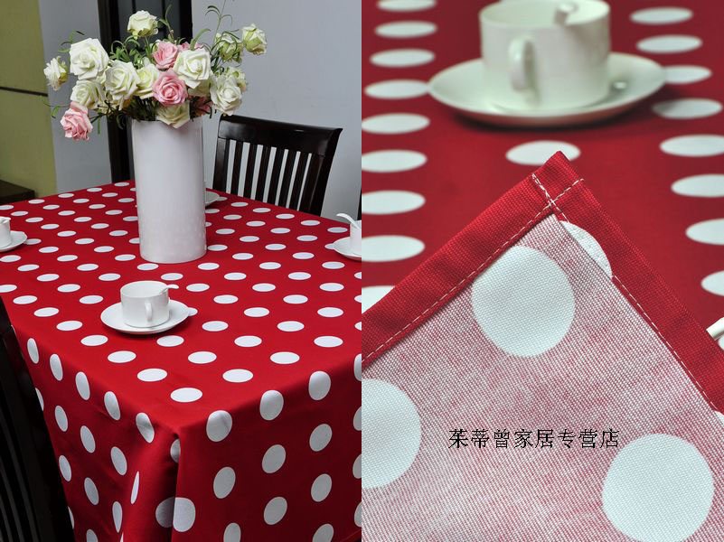 Hot Red Background White Dot Table Cloth Dining Room Kitchen Living Coffee Cover Fabric