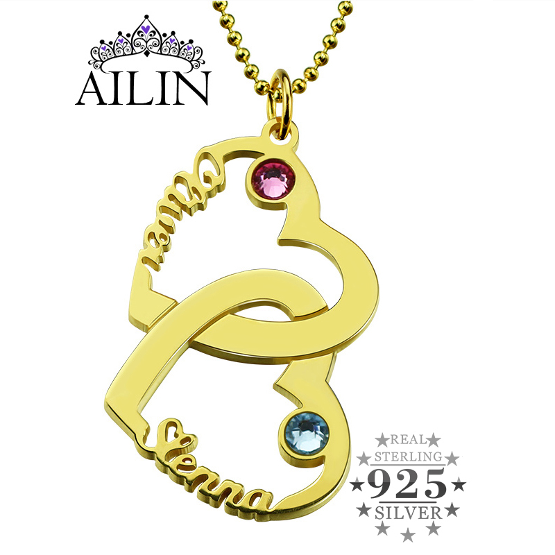 AILIN Couples Heart Name Necklace Gold Color Vertical Double Hearts Personalized Name Necklace Mom Heart Birthstone Necklace key to my heart couples name necklace gold color engraved birthstone heart and key initials necklace bff necklace love jewelry