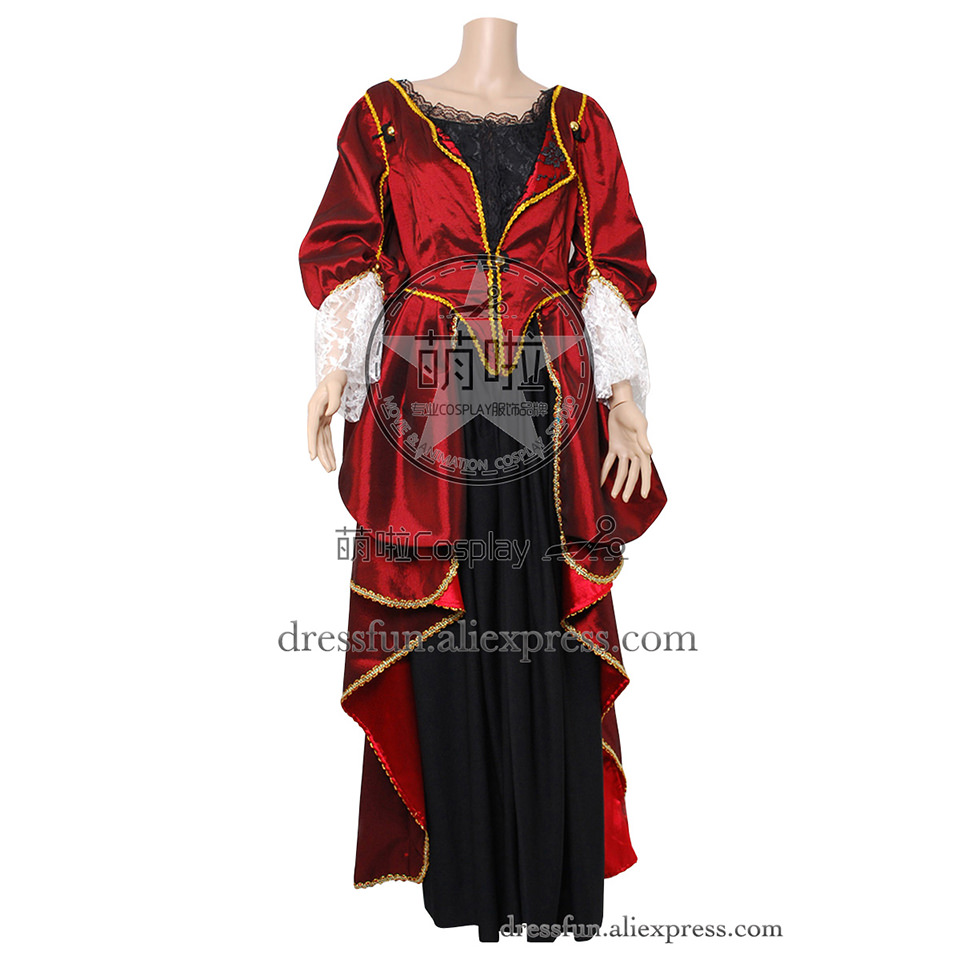 Pirates Of The Caribbean Cosplay Elizabeth Swann Costume Elizabeth Turner Red Dress Party Halloween Fast Shipping