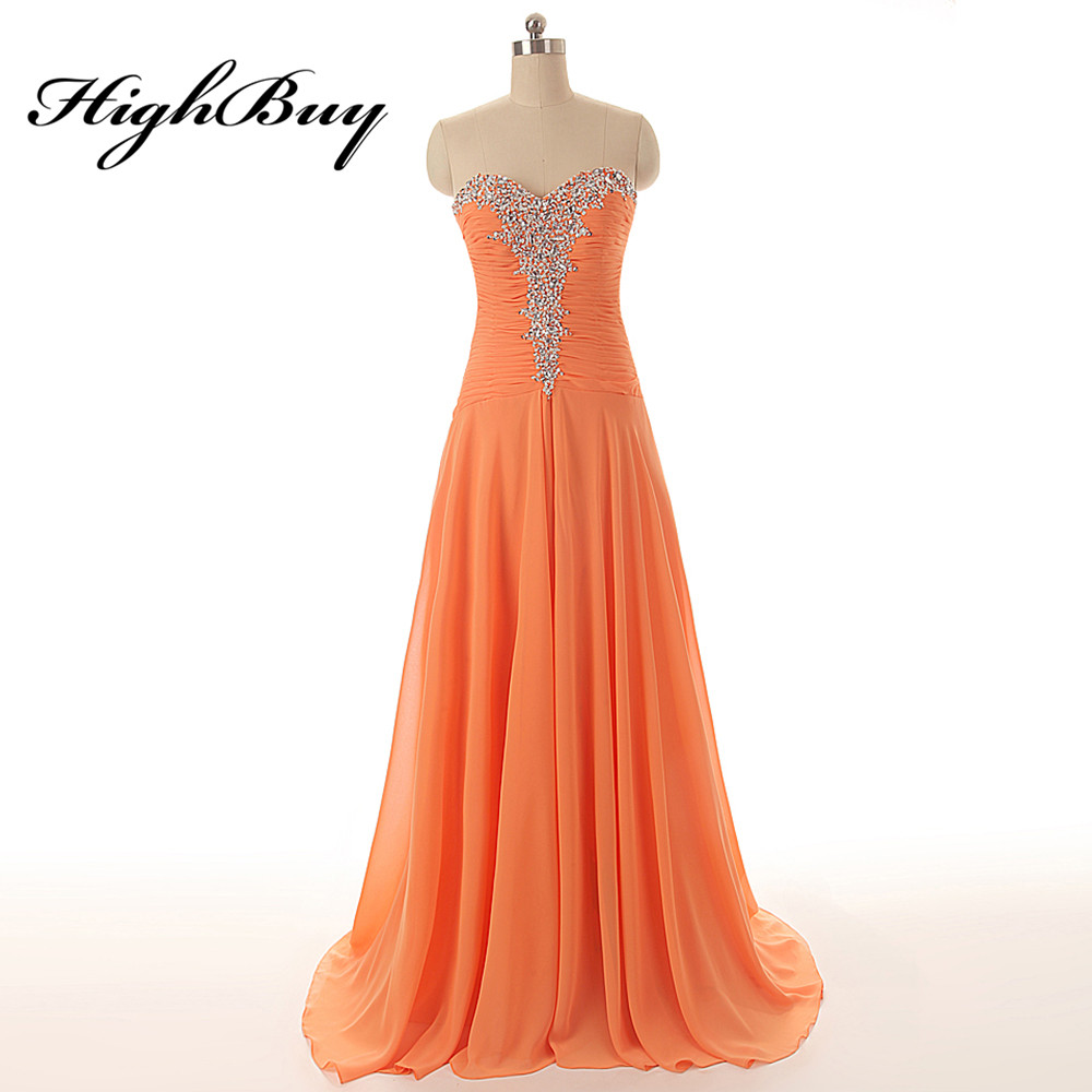 HighBuy Real Photo A linie Brautkleider Sexy Orange Schatz