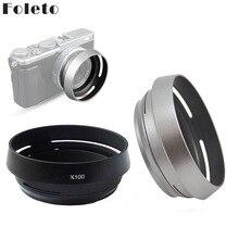 Foleto Metal Lens Hood Gölge + 49mm Adaptör Halkası Fujifilm X100F X70 X100T X100S LH X100 Arka Gümüş LA  49 X100