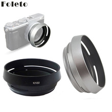 Foleto Metal Lens Hood Shade + 49mm Adapter Ring for Fujifilm X100F X70 X100T X100S LH X100 Back Silver LA 49 X100