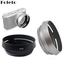 Foleto parasol de lentes de Metal + anillo adaptador de 49mm para Fujifilm X100F X70 X100T X100S LH X100, color plateado