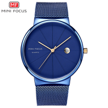 MINI FOCUS Mens Simple Mesh Strap Quartz Watches 2019 New Waterproof Wristwatch Man Relogios Masculino Clock 0176G Blue