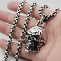 Huge 316L Stainless Steel Mens Skull Pendant 3V006 Biker Jeweller(Necklace 24inch)