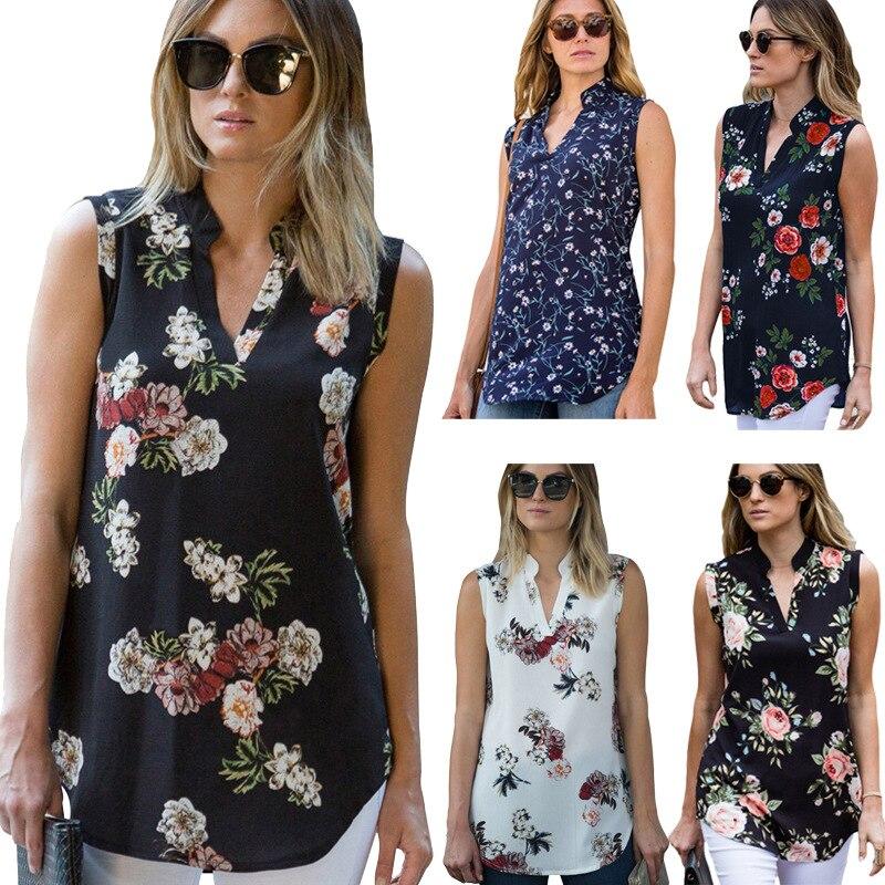 Phertiful New Arrival Fashion Chiffon Floral Tshirt Women T-shirt Sleeveless Tees Ladies V-Neck Plus Size Feminino Pullovers 5XL