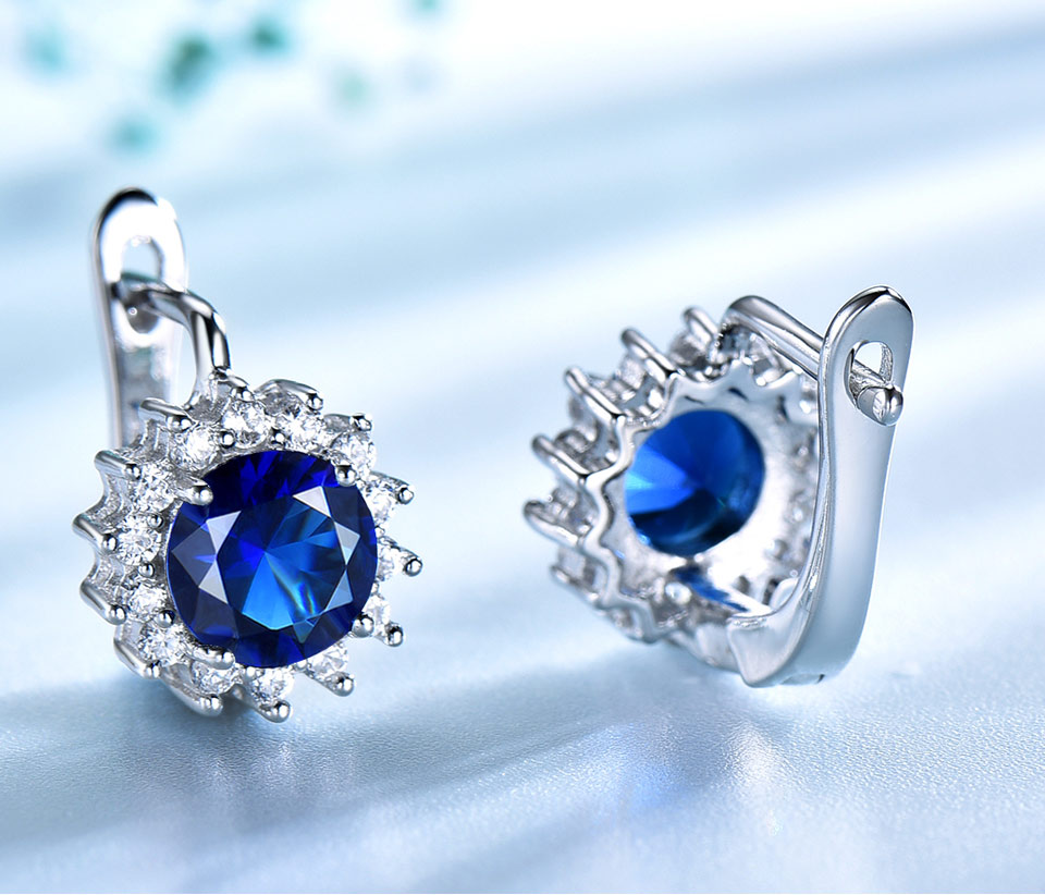 UMCHO Sapphire 925 sterling silver jewelry set for women S020S-1 (4)