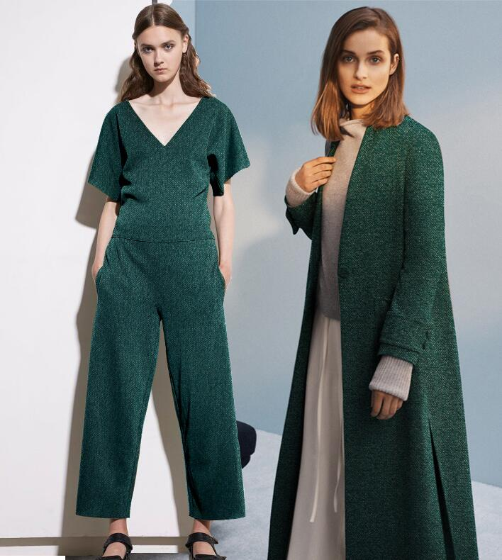 Fashion green Stretch thick knitting wool coat cashmere fabric / woolen tweed tecido telas christmas tulle dresses fabric A114