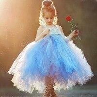 Dusty Blue Flower Girl Tutu Dress for Toddler Girl Florals Pearl Wedding Junior Bridesmaid Party Dress Kids Solid Dress Vestido