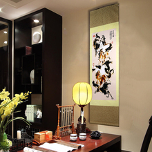 лучшая цена TangFoo Wall Picture Chinese Unique Crafts Gift Silk Painting Scroll Eight Flowers Chinese Traditional Gifts Spray Paintings