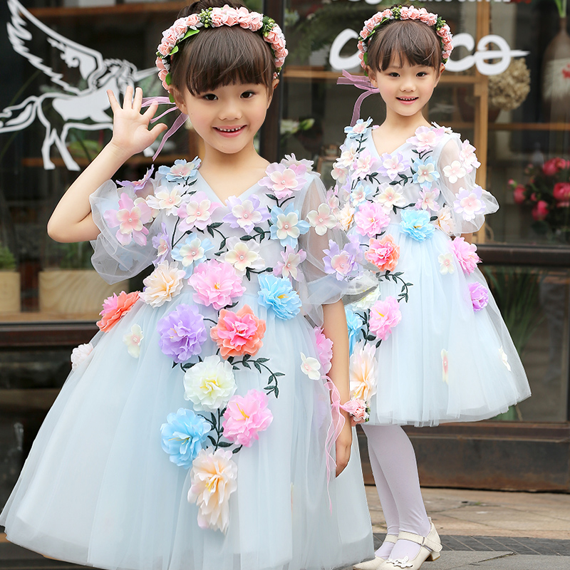 Fashion New Wedding Lace Tulle Flower Girl Dress Princess Ball Gown Birthday Party Bridesmaid Kids Girls Sweet Dress for 2-13Y