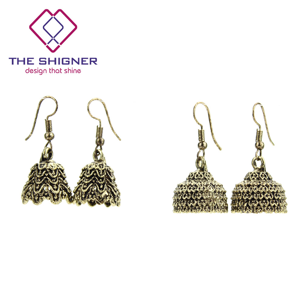 Punctual Indian Traditional Goldtone Dangle Jhumka Earring Set Women Ethnic Jewellery At Any Cost Bridal & Wedding Party Jewelry