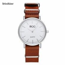 Irisshine C66 Homens de luxo da marca Homens De Couro À Prova D' Água Esporte Analógico de Pulso de Quartzo watchesFashion Relógio frete grátis