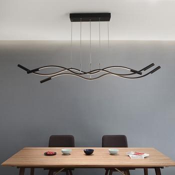 Black white modern led chandelier living restaurant kitchen Lampadario a onda Hanging suspension luminaire chandelier study cafe