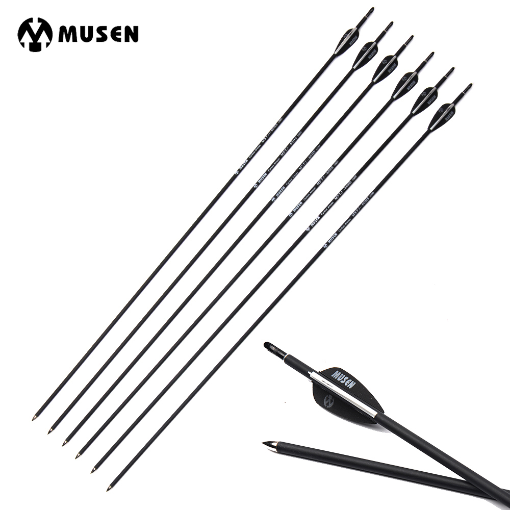 Spine-700/1000 Carbon Arrows Archery Compound/recurve Bow Hunting Black With And White