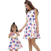 2018 Summer Family Look Mother Daughter Dresses Mom And Daughter Dress Dot Sleeveless Girls Women Cotton
