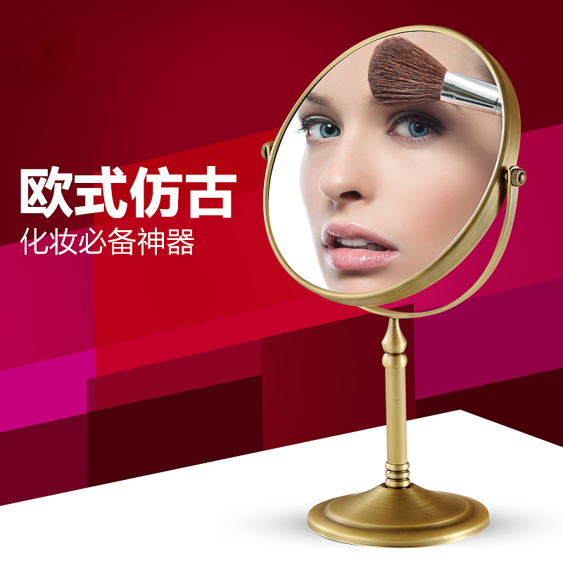 Free Shipping European Style 8 inches Double Side Antique Brass Cosmetic Bathroom Mirror 2 Face Makeup Mirror 1:3 Magnifying free shipping 9wall mounted round 3x 1x magnifying bathroom mirror led makeup cosmetic mirror lady s private mirror bm003