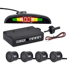 Car LED Parking Reversing Radar with 4 Sensors Reverse Backup Car Parking Radar Monitor Detector System Display car accessories car parking sensors 13mm flat sensors reverse backup radar with front camera and rear camera and 4 3 car video monitor