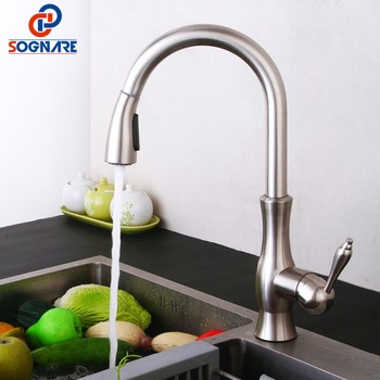 SOGNARE Spring Kitchen Faucet Brass Brushed Nickel Cold And Hot Water Mixer Pull Out Kitchen Tap For Kitchen Sink Mixer Tap nickel brushed pull out kitchen faucet sink mixer tap single handle hole deck mounted hot and cold water