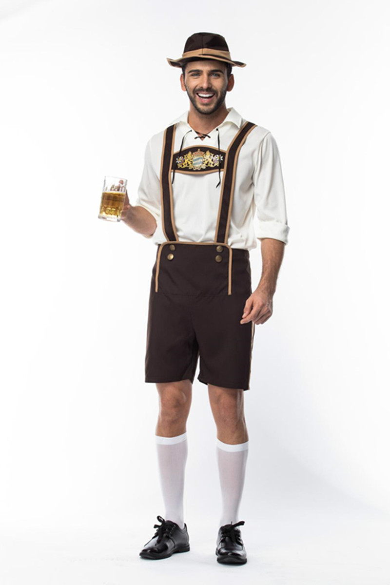 Size M-3XL Adult Man Oktoberfest Beer Costume Germany Bavarian Oktoberfest Outfit Shirt Lederhosen Hat Set