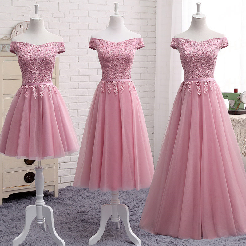 New Lace Pink Boat Neck   Bridesmaid     Dresses   Middle Section 2019 Ladies Party Prom   Dress   Graduation   Dresses