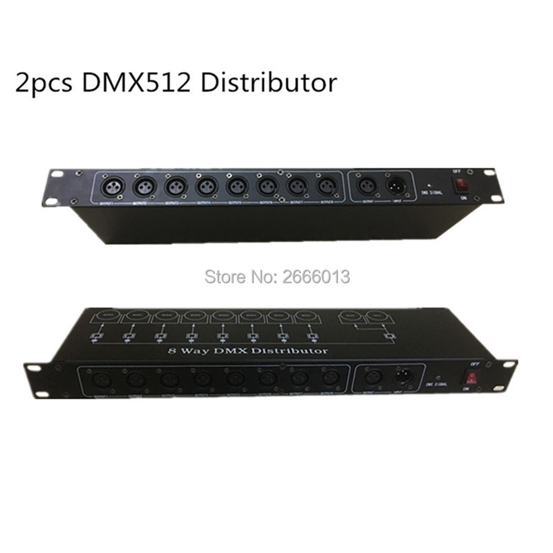 2pcs/lot Stage Light Controller DJ DMX512 Splitter Light Signal Amplifier Splitter 8 Way DMX Distributor For Stage Equipments 2pcs lot 8 channel output dmx dmx512 led controller signal amplifier splitter distributor with photoelectric isolation