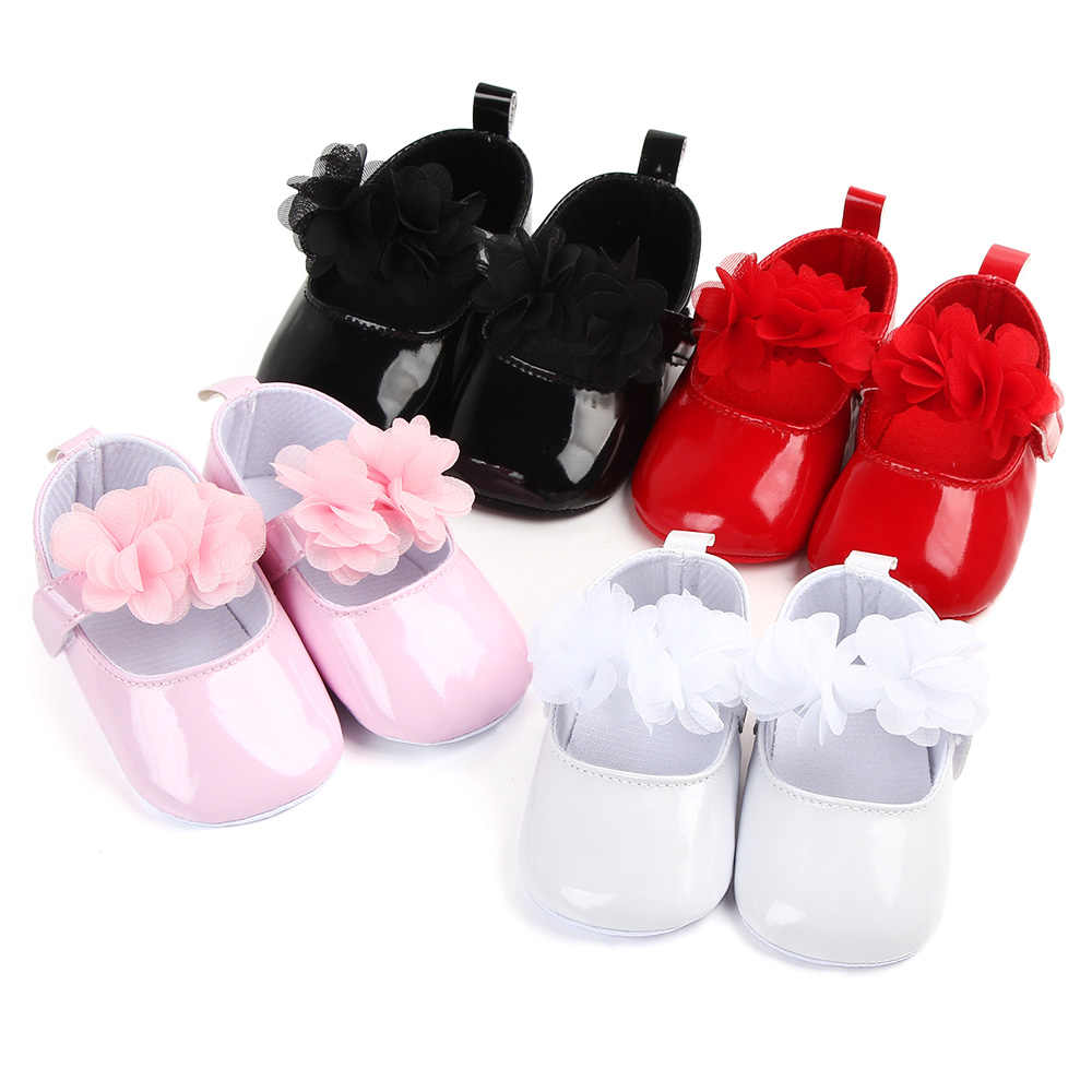 leather baby girl shoes rose pu leather