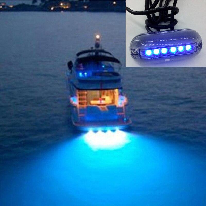 6 LED Underwater Fishing Light 12V Boat Night Light Water Landscape Lighting for Marine Boat