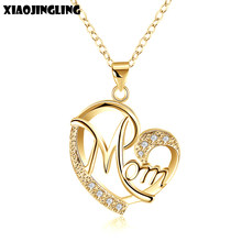 607c70947661 XIAOJINGLING amor mamá regalo mamá collar joyería plateada plata regalo  para madre Mamá letras corazón colgante collar al por ma.