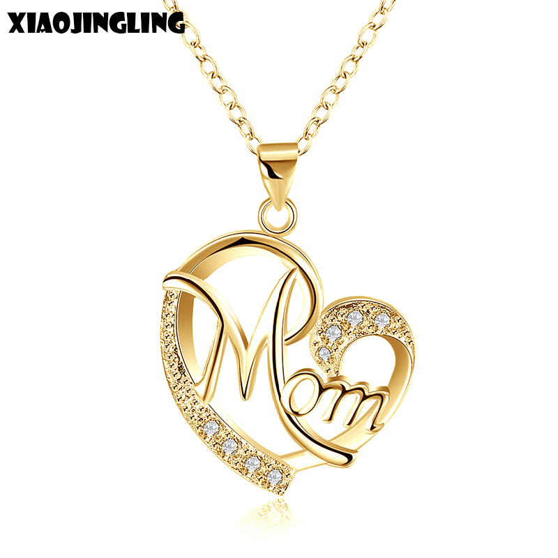 XIAOJINGLING Love Mom Gift Mama Necklace Silver Plated Jewelry Gift