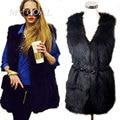 Winter Warm Vest  Fashion Fake Fur Sleeveless Vest Coat V-Collar Long Waistcoat Jacket Outwear Luxury Black Color basic coat