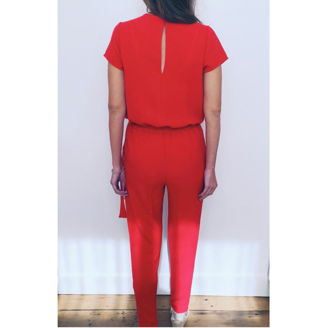 Solid Red Sexy jumpsuit long Jumpsuits elegant Women Summer Sexy Fashion  Short Sleeve  Solid Casual Jumpsuit combinaison femme
