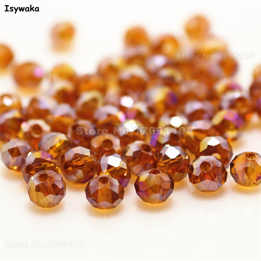 Isywaka разноцветные 4*6 мм 50 шт Австрийские граненые стеклянные бусины Rondelle, круглые бусины для изготовления ювелирных изделий - Цвет: Deep Brown AB