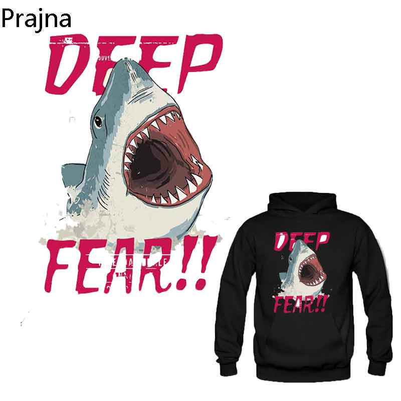 Prajna Large Letters Shark <font><b>Jeans</b></font> Iron-On Transfers For Backpack Fish <font><b>Aqua</b></font> Pyrography Thermal Heat Transfer Washable Parches D