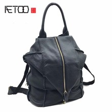 AETOO Brand original leather backpack female travel backpack patchwork the first layer of leather shoulder bag цена