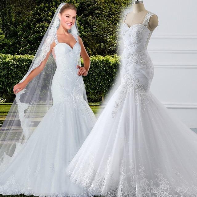 vestidos de novia Tank Illusion Back Appliques Tulle Bridal Gowns Long Robe de mariage 2019 Ghana New Mermaid Wedding Dress